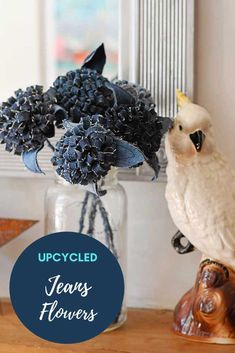 How to make a lovely bouquet of upcycled denim pom pom jeans flowers for your mantle. A fun easy and affordable craft.