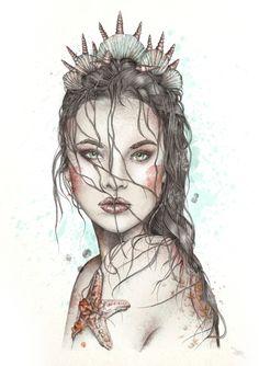 Fashion Portrait Illustration of a lost mermaid in watercolour. Mermaid Drawings, Mermaid Tattoos, Art Drawings, Mermaid Sketch, Mermaid Artwork, Mermaid Paintings, Drawings Of Mermaids, Mermaid Prints, Drawing Pics