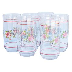 Pre-Owned Midcentury Pink-Pattern Tumblers S/6 ($125) ❤ liked on Polyvore featuring home, kitchen & dining, drinkware, high-ball glass, glass highball, pink glass tumblers, pink tumbler and highball glass