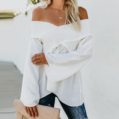 Elastic Off Shoulder Long Flare Sleeve Plain Pleated Loose Blouse – Ratecute Bell Sleeve Blouse, Bell Sleeves, Maternity Tops, Off The Shoulder, Shoulder Tops, Cold Shoulder, Shirt Outfit, Shirt Style, How To Wear