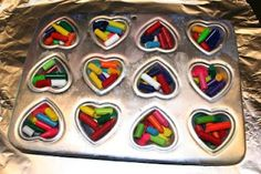 Melting Broken Crayon Pieces...makes cute heart shaped crayons and great Valentines for kids