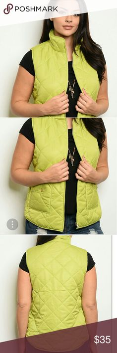 Quilted Vest Green Sz's 1x,2x,3x ☆♡Quilted green puffer vest,zip front,real pockets,super soft. A great way to add a pop of color and keep warm. Jackets & Coats Vests