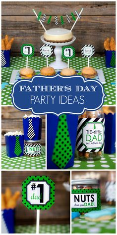 This blue and green Father's Day party features preppy ties and snacks for dad! Fathers Day Lunch, Fathers Day Ideas For Husband, Fathers Day Weekend, Fathers Day Crafts, Happy Fathers Day, Diy Father's Day Gifts, Father's Day Diy, Father's Day Video, Father's Day Games