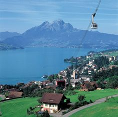 Lucerne, Switzerland.  I remember this! Crazy gorgeous!  I was in college, so no money for the tram, but I hiked many miles up the mountain anyway.