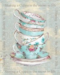 Ready to Frame Print  - Sharing a Cuppa is the secret to life - Postage is included Worldwide