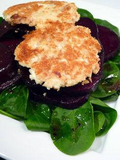 Almond Crusted Goat Cheese with Honey Beets #recipe.  This recipe for the goat cheese cakes sounds really good, and it's low carb without the beets.