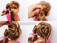 Valentine's Day Heart Pigtails American Girl Doll Hairstyle