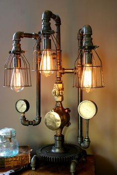 Steampunk Lamp Industrial Art Machine Age Salvage Steam Gauge Light Boiler Room. Unfortunately no longer available