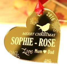 Gold Acrylic Robin Christmas Tree Decorations - Personalise it! with optional gift box Personalised Christmas Baubles, Christmas Tree Baubles, Christmas Tree Decorations, Christmas Bulbs, Merry Christmas, Holiday Decor, Wooden Decor, Family Christmas, Laser Cutting