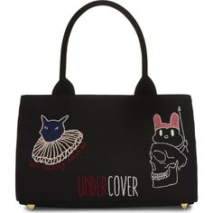 UNDERCOVER U bag cat mini tote ($595) ❤ liked on Polyvore featuring bags, handbags, tote bags, bolsos, tote handbags, cat purse, embroidered tote bags, print tote bags and studded purse