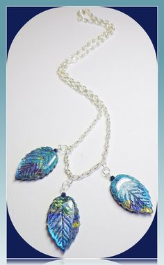 Sapphire Blue 3 Leaf Statement Necklace, polymer clay Jewelry. $.