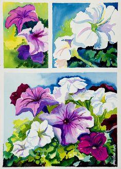 Petunias in Summer Painting  - Petunias in Summer Fine Art Print