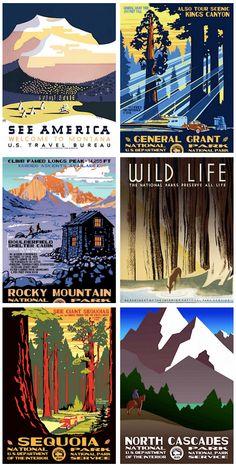 Vintage National Park Posters