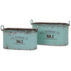 US Storage Co. Metal Tubs, Set of 2
