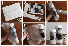 Wat heb je nodig om deze kaars met foto-opdruk te maken? Heel simpel: Een witte stompkaars Wit printpapier Wit tissue papier Pr...