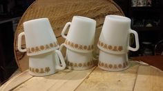 Vintage Set of 6 Pyrex Mugs Butterfly Milk Glass USA Coffee Cup Party Serving…
