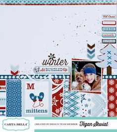 """Scrapbook Page by  Tegan Skwiat featuring the """"Bundled Up"""" Collection by #cartabellapaper"""