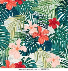 Summer colorful hawaiian seamless pattern with tropical plants and hibiscus flowers,  illustration