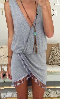 #summer #fashion / gray asymmertrical dress