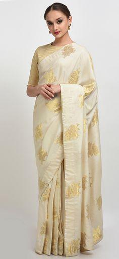 Light Beige-Gold Banarasi Rose Zari Handwoven Saree