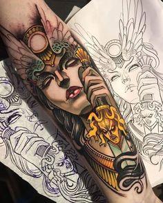 Head Tattoos, Body Art Tattoos, Cool Tattoos, Tatuaje Old School, Most Viral Videos, Flash Design, Neo Traditional Tattoo, Meaningful Tattoos, Beautiful Tattoos