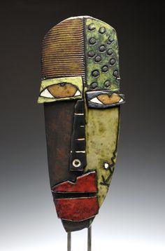 Kimmy Cantrell Pottery Sculpture, Sculpture Art, Sculptures, Kimmy Cantrell, Ceramic Mask, Pottery Painting Designs, Philadelphia Museum Of Art, Cardboard Art, Junk Art