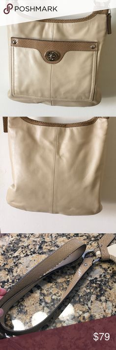 """Authentic Coach Penelope crossbody bag Cream leather with snake trim.  Silver hardware.  Front pocket with lock.  Inside has one zip and two pouch pockets.   Absolutely clean.no signs of wear.  11"""" wide, 10"""" tall.  031710 Coach Bags Crossbody Bags"""