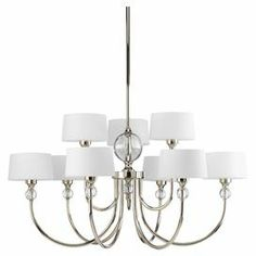 """Topped with tapered shades and clear orb accents, this elegant chandelier is framed with dramatically arched stems in a polished nickel finish.  Product: ChandelierConstruction Material: Metal and fabricColor: Polished nickel and whiteFeatures: 180"""" Chain lengthAccommodates: (9) Bulbs - not includedDimensions: 15.38"""" H x 31"""" Diameter Note: Dimmers can be used with any incandescent or halogen light bulbs"""