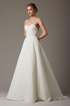Simple elegant strapless wedding dress by Lela Rose, Spring 2016