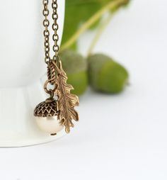 Acorn Pendant -Oak Leaf Charm - Rustic Jewelry - Woodland Wedding Necklace - Gift For Mom - Pearl Acorn Necklace - Acorn Charm Necklace
