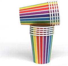 Rainbow Stripe Party Paper Cups - Well colour us happy, it's  fabulous rainbow designed paper cups! Produced with a gorgeous gloss finish, these quality paper cups are perfect for any occasion - girls, boys, young or even the young at heart!    Decorate your rainbow themed party in style with these gorgeous rainbow cups, these happy little numbers will have you painting rainbows in no time!     Dimensions: 250ml (9 oz)