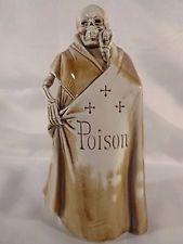 """Schafer Vater German Porcelain Figural Bottle Flask Skeleton Grim Reaper 8 1/4"""""""