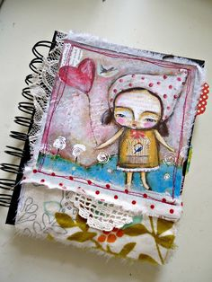 Journal / notebook and bookmark mixed media art - A6 size (original)