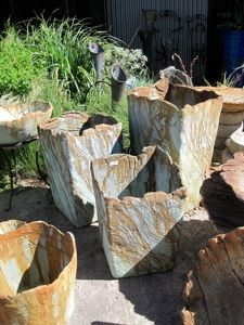 cement blended with various recycled materials - light and stronger than concrete John Lamos collection.Would make unusual and interesting planters Concrete Crafts, Concrete Art, Concrete Garden, Concrete Projects, Outdoor Projects, Wooden Garden, Garden Crafts, Garden Projects, Art Concret