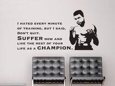 Citazione ispiratrice di autoadesivo della parete di Muhammad Ali, citazioni di adesivi parete, parete decalcomania citazione, adesivi in vinile, murale, citazioni famose,