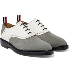 Thom Browne - Two-Tone Nubuck and Textured-Leather Oxford Shoes Luxury Fashion, Mens Fashion, Thom Browne, Derby, Oxford Shoes, Dress Shoes, Lace Up, Man Shop, Leather