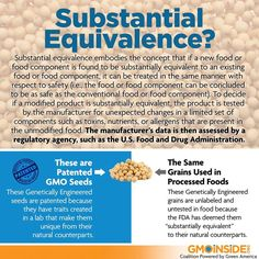 Are you familiar with substantial equivalence? Substantial equivalence assumes that if a GMO contains similar amounts of a few basic components such as protein, fat, and carbohydrate as its non-GMO counterpart, then the GMO is substantially equivalent to the non-GMO and no compulsory safety testing is required. This is how GMOs were made available in the U.S. Read more here and share this graphic about substantial equivalence: http://gmoinside.org/substantial-equivalence #GMOs #GMOseeds…