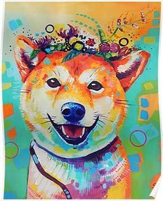 Colorful traditional painting of a shiba inu. / Acrylic on heavy paper. / / Commissions are available, for more info check out my website / Original paintings for sale on Etsy Shiba Inu, Shiba Puppy, Original Paintings For Sale, Thing 1, 5d Diamond Painting, Traditional Paintings, Dog Paintings, Diamond Art, Paint By Number