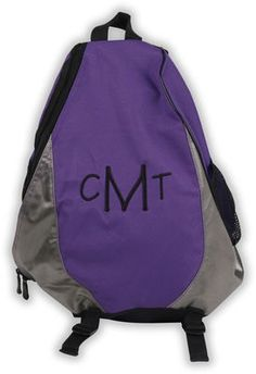 Purple Monogrammed Sling Backpack