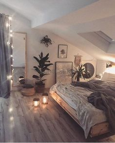 cozi homes on We are in love with this cozy bedroom! The low bed and the soft string lights give the room such a relaxing and cozy vibe. Room Ideas Bedroom, Bedroom Loft, Home Decor Bedroom, Attic Bedroom Ideas For Teens, Attic Bedrooms, Bed Rooms, A Frame Bedroom, Rustic Teen Bedroom, Cozy Master Bedroom Ideas