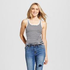 Women's Striped Favorite Tank White/Black Stripe Xxl - Merona