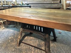 Bespoke Industrial Dining Table  Nearly finished before leaving the workshop to be delivered in the customers house  a cheeky sneek peek of the reclaimed timbers used in the background