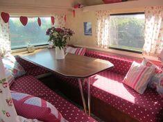 Vintage caravans with retro interiors.