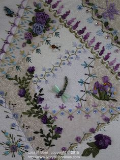 Make adorable patchwork placemats using pre-cut fabric squares to grace your table. Silk Ribbon Embroidery, Beaded Embroidery, Embroidery Stitches, Embroidery Patterns, Hand Embroidery, Crazy Quilt Stitches, Crazy Quilt Blocks, Crazy Quilting, Crazy Patchwork
