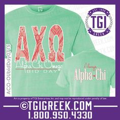 TGI Greek - Alpha Chi Omega - Bid Day - Greek T-shirt - Comfort Colors #tgigreek #alphachiomega