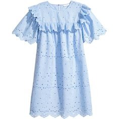 Dress with Eyelet Embroidery $69.99 featuring polyvore women's fashion clothing dresses cotton eyelet dress blue dress short sleeve dress frilly dresses embroidered dress