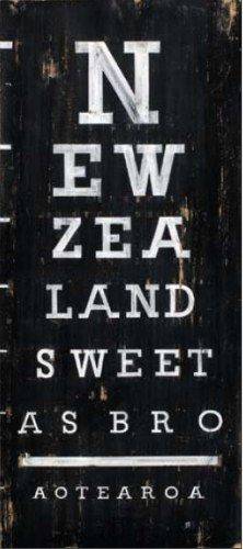 Discover Me : Aotearoa Canvas Print by Jason Kelly by Prints NZ Kiwiana Canvas Print Image size in millimetres: 210 x 500 (canvas printed with a wide black border around image) Kiwiana style _Eye Chart_. New Zealand: Sweet. New Zealand Houses, New Zealand Art, Eye Chart, Nz Art, Maori Art, Kiwiana, All Things New, The Beautiful Country, Canvas Prints