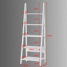 Haotian Modern Ladder Bookcase Made of Wood, Book Shelf,Stand Shelf, Wall Shelf (White) Diy Wood Projects, Home Projects, Woodworking Projects, Ladder Shelf Decor, Ladder Bookshelf, Diy Plant Stand, Pallet Shelves, Easy Home Decor, Pallet Furniture