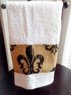 Burlap Fleur de lis decorative bath hand towel by mydecor8 on Etsy, $5.25
