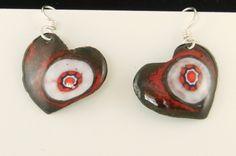 Little Red, Black and White Enamel Heart Earrings on Sterling ear wires 2504